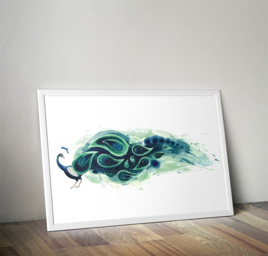 Vertical Peacock - Art print by Artist Tracey Cameron