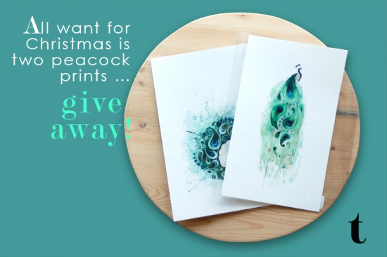 Win a set of two peacock prints by artist Tracey Cameron
