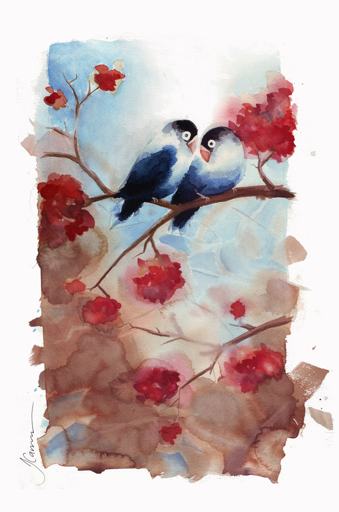 Love Birds | Watercolor Painting | Tracey Cameron Creative