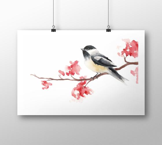 Chickadee Art Print | Tracey Cameron Creative
