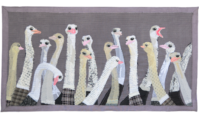 Flock of Ostriches | Fabric Wall Hanging | Tracey Cameron Creative