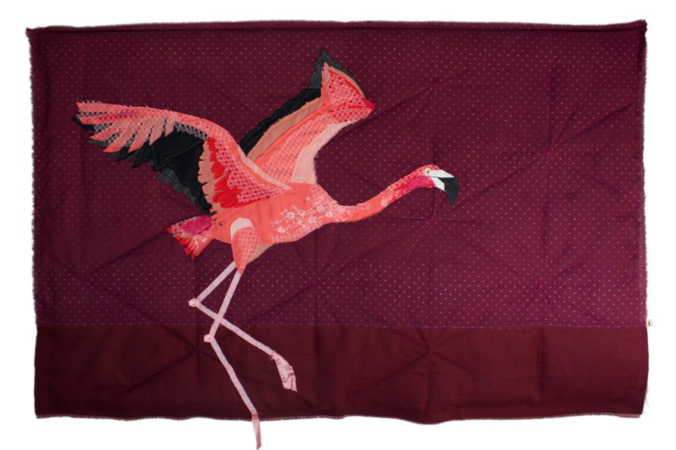 Flamingo in Flight | Textile Art | Tracey Cameron Creative