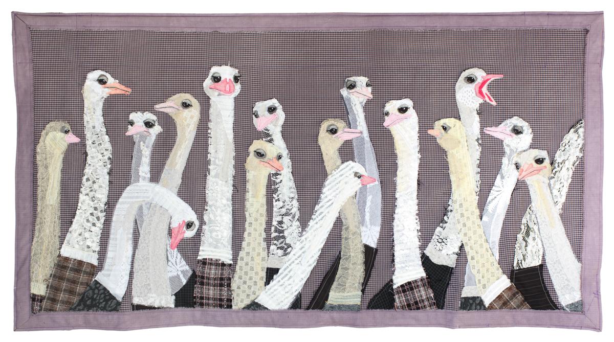 Flock of Ostrichs | Textile Art | Tracey Cameron Creative