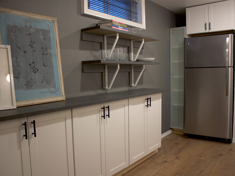 Basement Kitchen Cabinets and Fridge || Tracey Cameron Creative