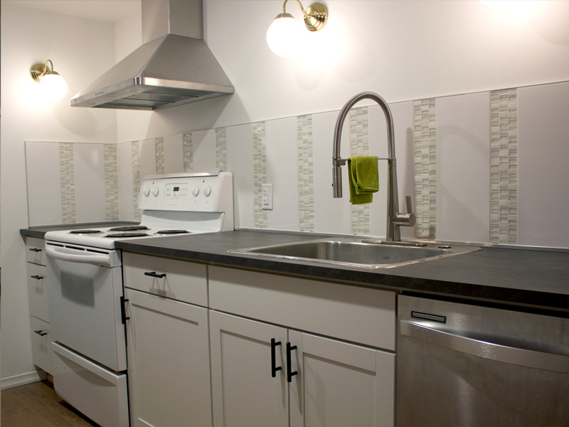 Basement Kitchen Sink and Stove || Tracey Cameron Creative