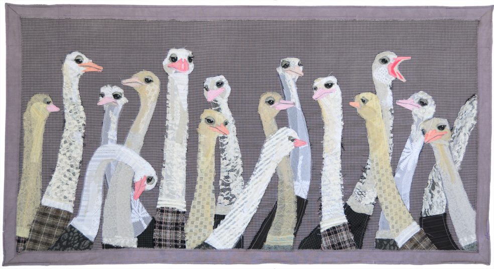 Ostirch Flock | Fibre Wall Hanging | Tracey Cameron Creative