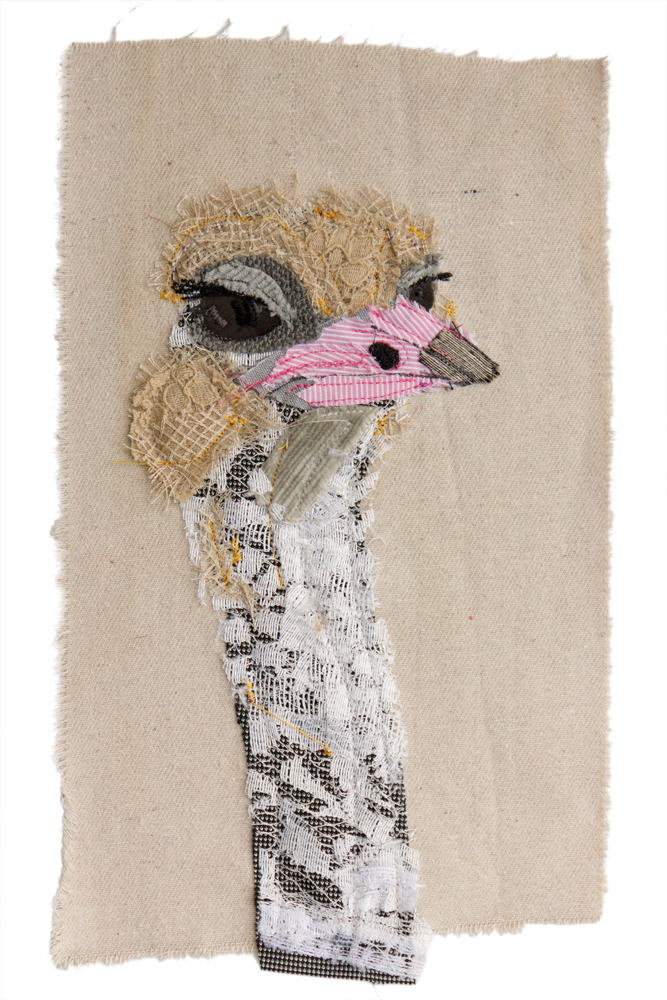 Ostrich | Textile Art | Tracey Cameron Creative
