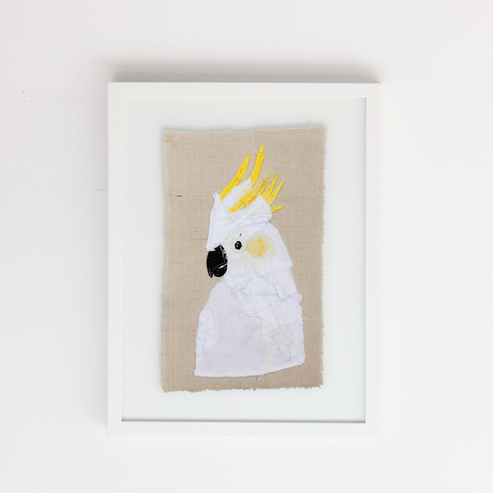Framed Cockatoo | Bird Portraiture Series Textile Art | Tracey Cameron Creative